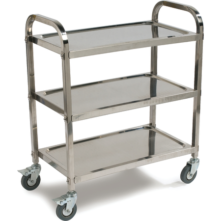 """UC4031529 - 3 Shelf Knockdown Stainless Steel Utility Cart 400 lb Capacity 15-3/4""""W x 29-1/2"""" L - Stainless Steel"""