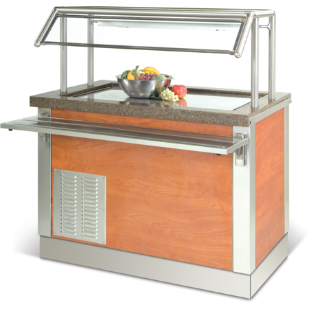 """DXDFT6 - Dinexpress® Frost Top Cold Food Counter-6 Well w/ 1"""" Recessed Well & 1"""" Drain w/ Shut-Off Valve 91""""L x 30""""D - Stainless Steel"""
