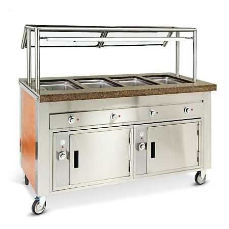 """DXDHF4 - Dinexpress® Hot Food Counter-4 Well 63"""" L x 30"""" D x 36"""" H - Stainless Steel"""