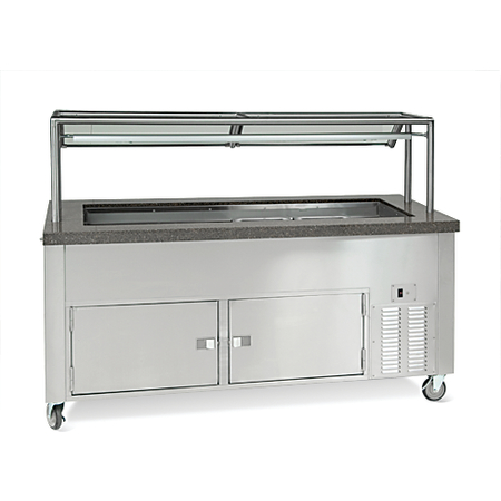 "DXDHC6 - Dinexpress® Hot/Cold Food Counter-6 Well 91""L x 30""D - Stainless Steel"