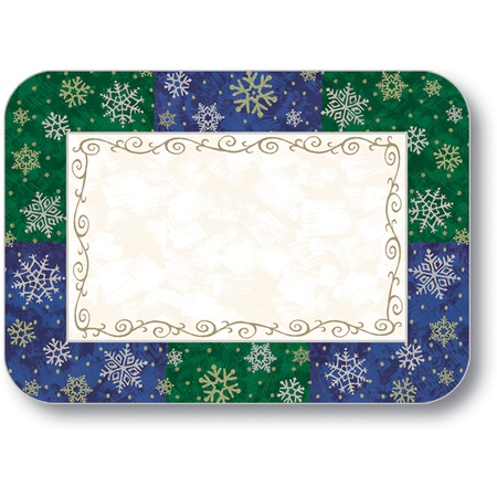 "DXHS456D001 - Silver & Gold Design Placemat w/ Straight Edge/Round corner 100/pk 11"" x 15"""