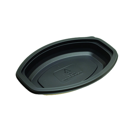 DXMW916PBLK - Microwaveable Oval Casserole Container 16oz. (250cs/cs) - Black