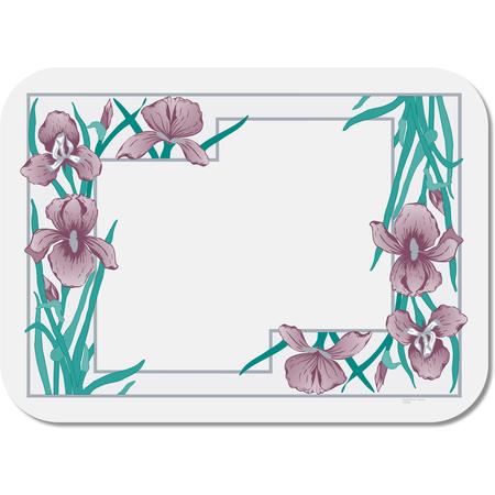 DX5081A5 - Iris Garden Traycover Size: A w/Straight Edge/Round Corner 10-7/16 x 18-1/2 (1000/cs)