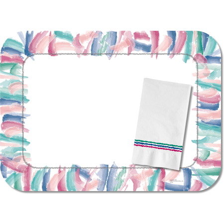 "DX5323M - Waterscolors Traycover Size: M w/ Straight Edge/Round Corner 13-5/8"" x 18-3/4"" (1000/cs)"