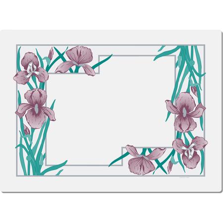 "DX5081E202733 - Iris Garden Traycover Size: E w/ Straight Edge/Small Corner 11"" x 18"" (1000/cs)"