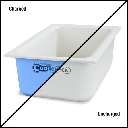 """CM1100C1402 - Coldmaster® CoolCheck 6"""" D Full-size Food Pan 15 qt  - White/Blue"""