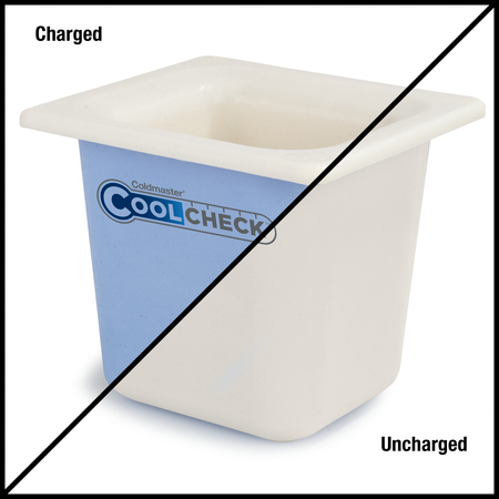 "CM1104C1402 - Coldmaster® CoolCheck 6"" D Sixth-size Food Pan 1.6 qt  - White/Blue"