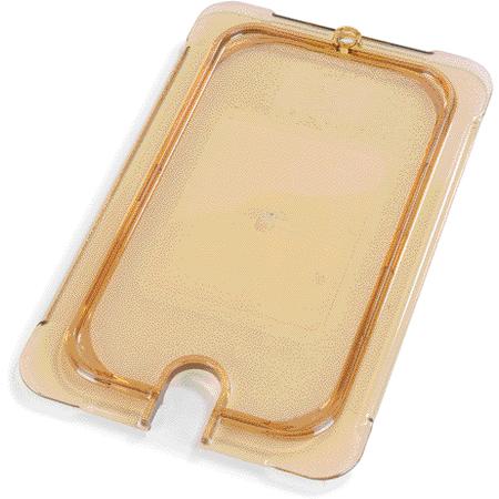 10497U13 - StorPlus™ Univ Lid - Food Pan HH Flat Notched 1/4 Size - Amber