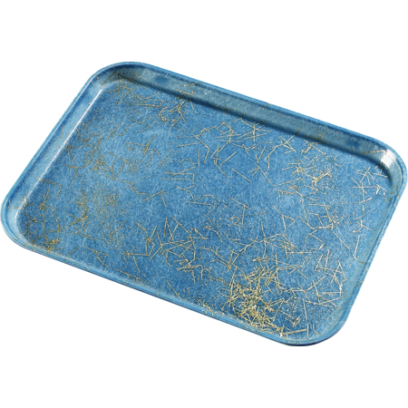 "1814DFG029 - Glasteel™ Decorative Rectangular Tray 18"" x 14"" - Starfire Blue"