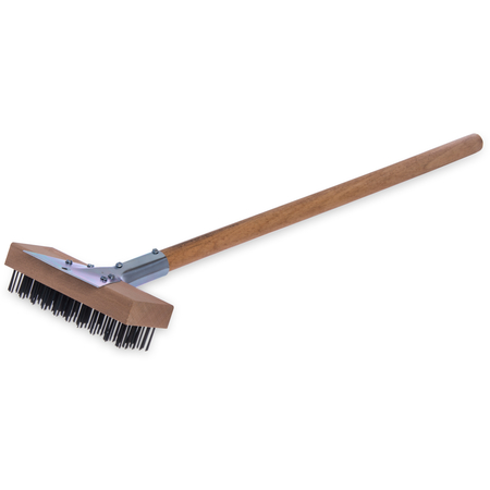 """36372500 - Oven and Grill Brush w/Scraper & Flat Carbon Steel Bristles 30"""" - Natural"""