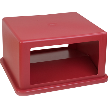 34405805 - Open-Side Square Waste Container Hood Lid with Hinged Doors 56 Gallon - Red
