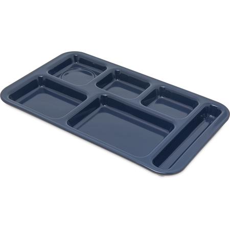 "4398250 - Right Hand 6-Compartment Melamine Tray, 15"" x 9"" - Dark Blue"