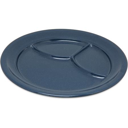 """4351435 - Dallas Ware® Melamine 3-Compartment Plate 9.75"""" - Café Blue"""