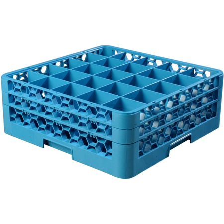 """RG25-214 - OptiClean™ 25 Compartment Glass Rack with 2 Extenders 7.12"""" - Carlisle Blue"""