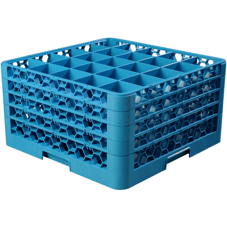 """RG25-414 - OptiClean™ 25 Compartment Glass Rack with 4 Extenders 10.3"""" - Carlisle Blue"""