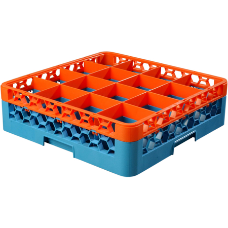 "RG16-1C412 - OptiClean™ 16 Compartment Glass Rack with 1 Extender 5.56"" - Orange-Carlisle Blue"
