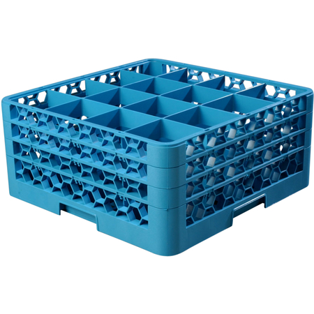 "RG16-314 - OptiClean™ 16 Compartment Glass Rack with 3 Extenders 8.72"" - Carlisle Blue"