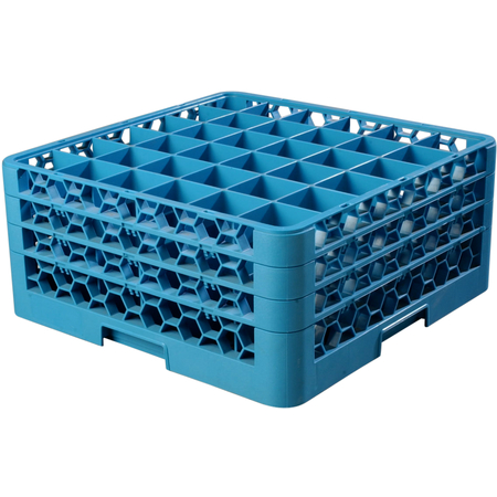 """RG36-314 - OptiClean™ 36 Compartment Glass Rack with 3 Extenders 8.72"""" - Carlisle Blue"""