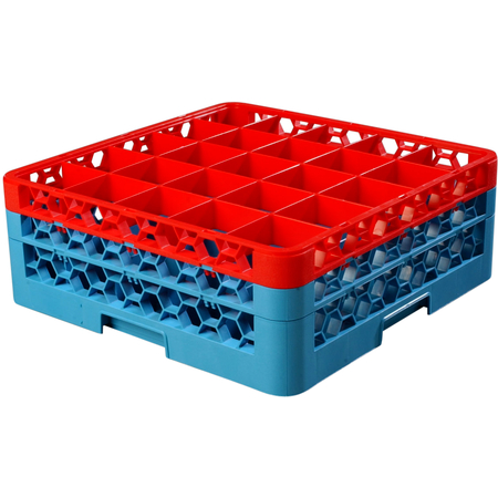 """RG25-2C410 - OptiClean™ 25 Compartment Glass Rack with 2 Extenders 7.12"""" - Red-Carlisle Blue"""