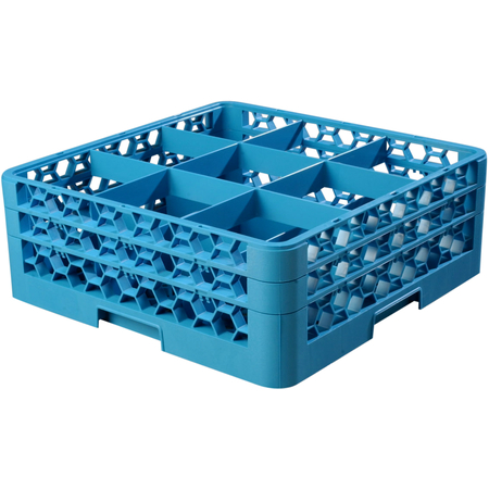 """RG9-214 - OptiClean™ 9 Compartment Glass Rack with 2 Extenders 7.12"""" - Carlisle Blue"""