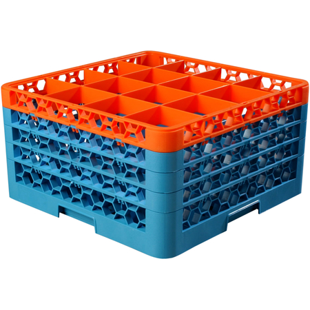 "RG16-4C412 - OptiClean™ 16 Compartment Glass Rack with 4 Extenders 10.3"" - Orange-Carlisle Blue"