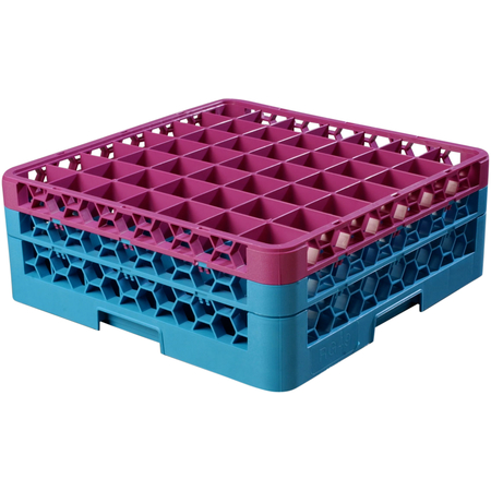 """RG49-2C414 - OptiClean™ 49 Compartment Glass Rack with 2 Extenders 7.12"""" - Lavender-Carlisle Blue"""