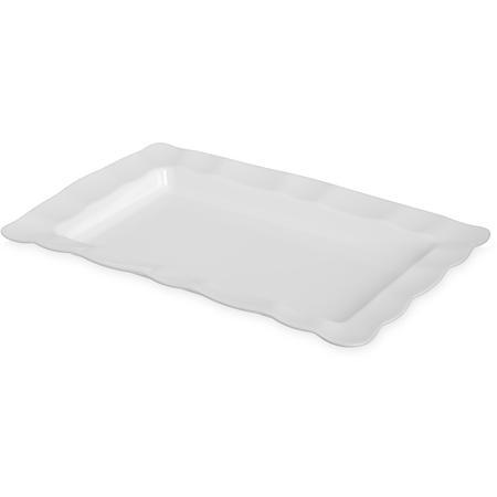 794402 - Displayware™ Rectangular Small Scalloped Tray 19.5x13 - White