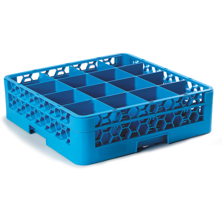 """RG16-114 - OptiClean™ 16 Compartment Glass Rack with 1 Extender 5.56"""" - Carlisle Blue"""