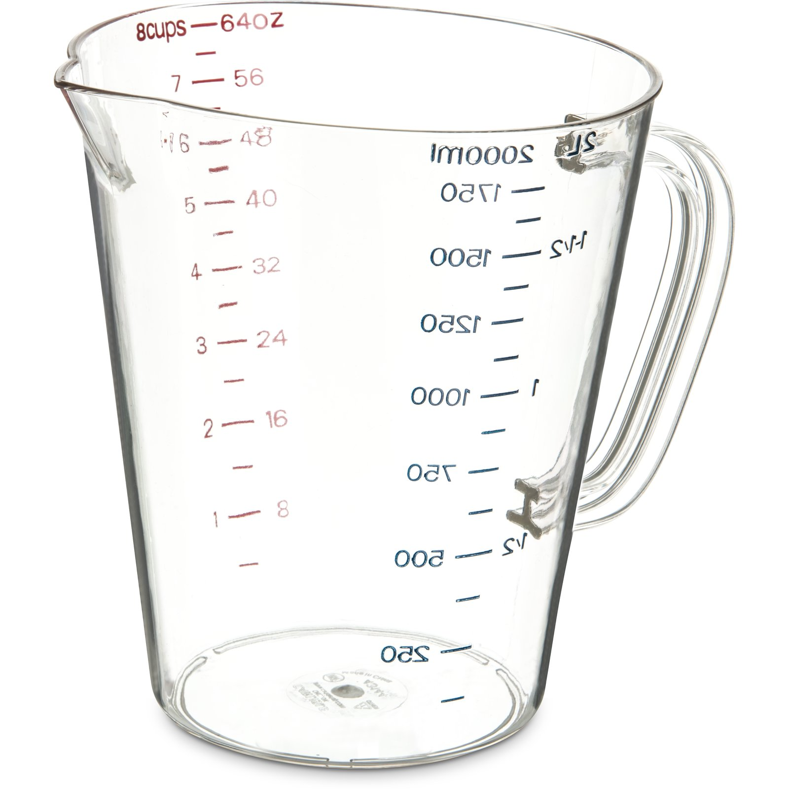 4314407 Commercial Measuring Cup 1 2 Gal Clear Carlisle Foodservice Products