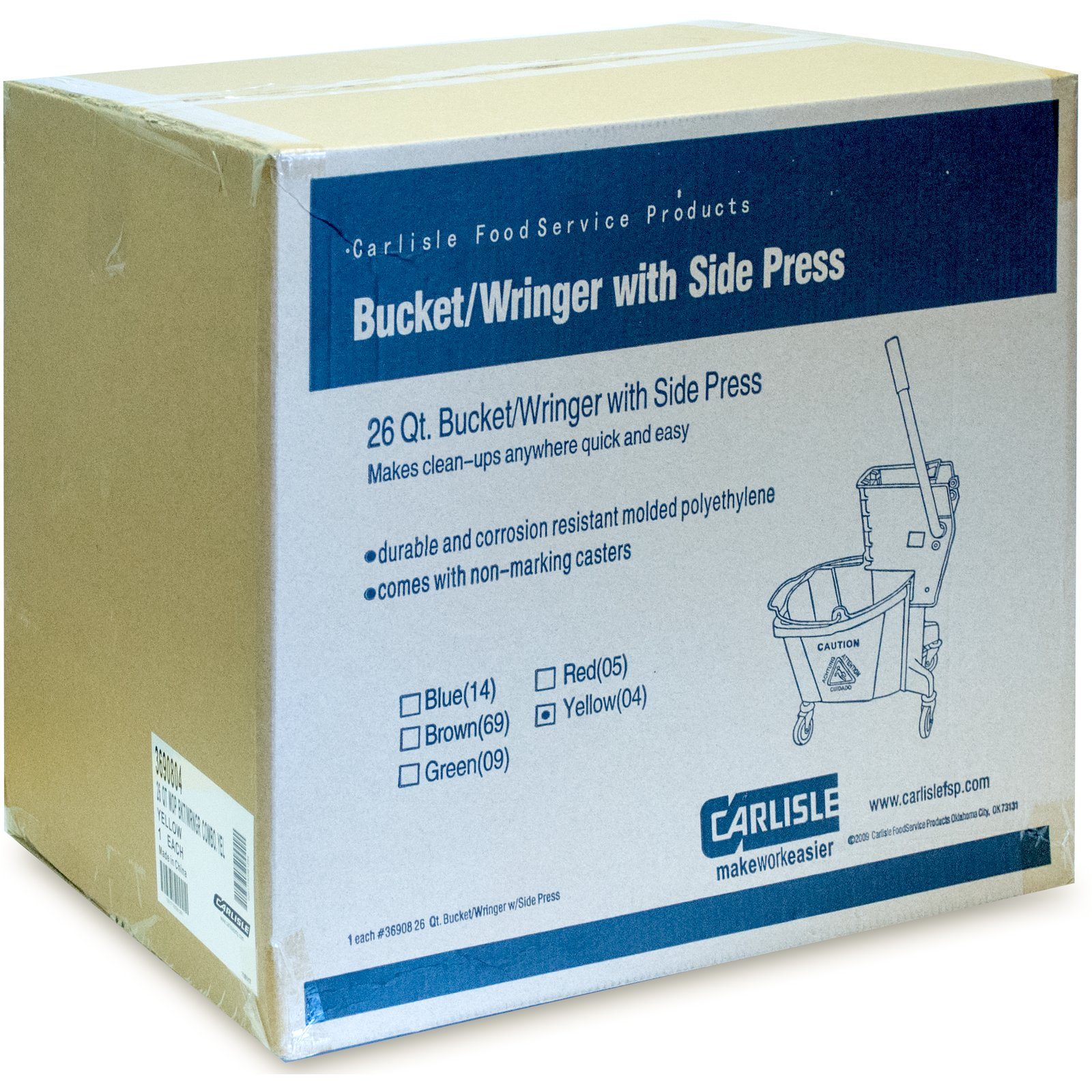 3690804 - Commercial Mop Bucket with Side-Press Wringer 26 Quart
