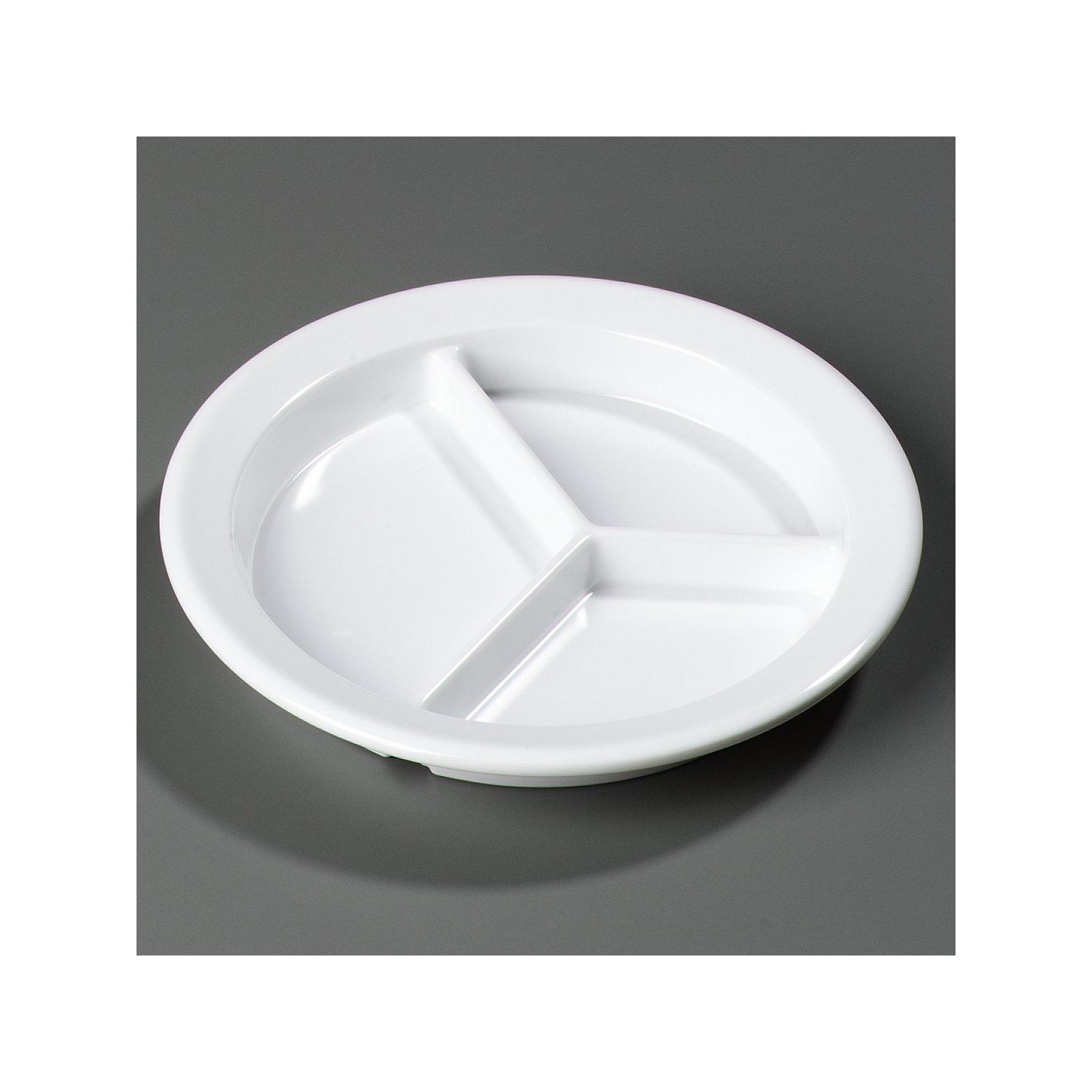 Carlisle 4351602-E Melamine 3-Compartment Deep Plate White Fоur Paсk, White 9
