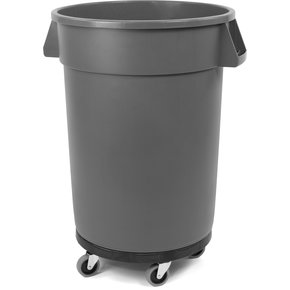 34113214 - Bronco™ Round Waste Container, Dolly, Combo (Lid Sold Separately) 32 Gallon - Blue