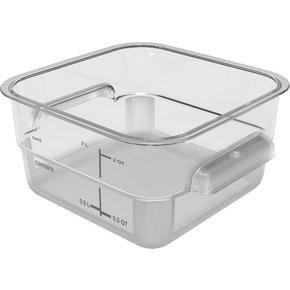 11950AF07 - Squares Polycarbonate Food Storage Container 2 qt - Clear