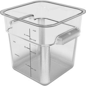 11951AF07 - Squares Polycarbonate Food Storage Container 4 qt - Clear