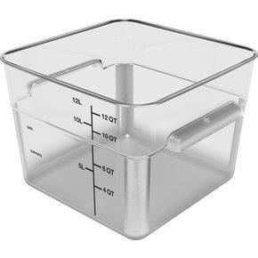 11954AF07 - Squares Polycarbonate Food Storage Container 12 qt - Clear