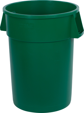 34104409 bronco round waste bin trash container 44 gallon green carlisle foodservice products - Garden waste containers ...