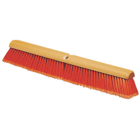 "4501324 - Flagged Bristle Hardwood Push Broom Head (Handle Sold Separately) 18"" - Orange"