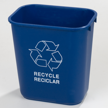 342928REC14 - Rectangle RECYCLE Office Wastebasket 28 Quart - Blue