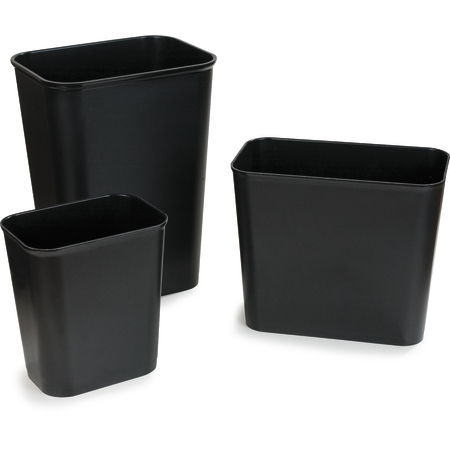 34292703 - Rectangle Fire Resistant Wastebasket Trash Can 27 Quart - Black