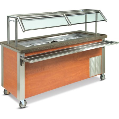 "DXDCF2 - Dinexpress® Cold Food Counter-2 Well w/5"" Deep Wells 35.000L x 30.0 Dia - Stainless Steel"