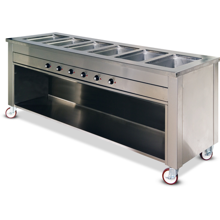 "DXDHF6 - Dinexpress® Hot Food Counter-6 Well 91"" L x 30"" D x 36"" H - Stainless Steel"