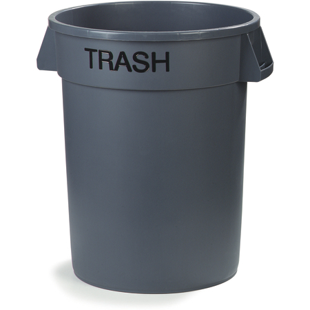 341032TRA23 - Bronco™ Round TRASH Labeled Waste Container 32 Gallon - Trash - Gray