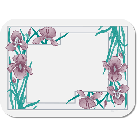 "DX5081A202733NS - Iris Garden Non-Skid Tray Cover Size: A w/ Scalloped Edge/Round Courner 10-7/16"" x 18-1/2"" (1000/cs)"