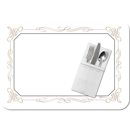"DX5350I - Filigree Design Tray Cover Size: I w/ Straight Edge/Round Corner 12-3/4"" x 16-5/8"" (1000/cs)"