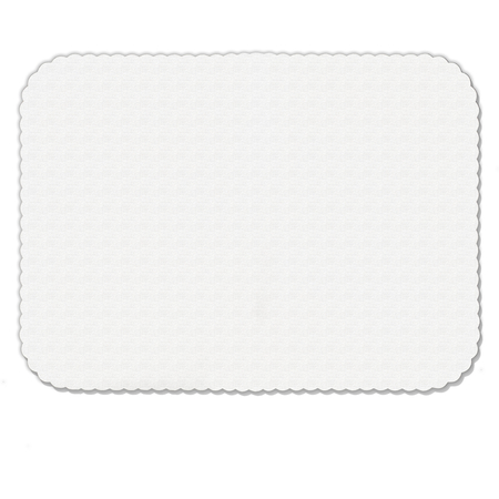 "DX5999I00102 - White Embossed Tray Cover Size: I w/ Scalloped Edge/Round Corner 12-3/4"" x 16-5/8"" (2000/cs) - White"