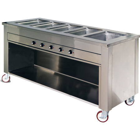 """DXDHF5 - Dinexpress® Hot Food Counter-5 Well 77"""" L x 30"""" D x 36"""" H - Stainless Steel"""