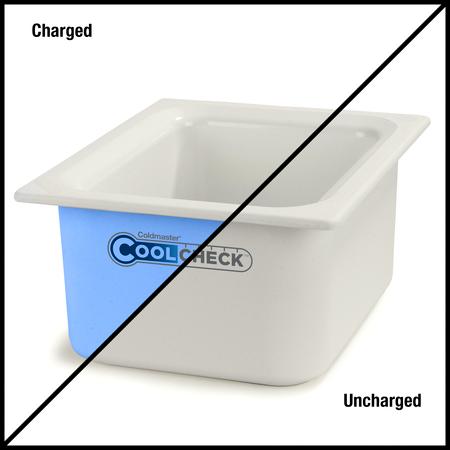 """CM1101C1402 - Coldmaster® CoolCheck 6"""" D Half-size Food Pan 6 qt  - White/Blue"""