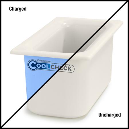 """CM1102C1402 - Coldmaster® CoolCheck 6"""" D Third-size Food Pan 4 qt  - White/Blue"""