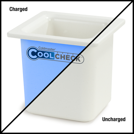 "CM1105C1402 - Coldmaster® CoolCheck 6"" D Sixth-size High Capacity Food Pan 1.7 qt  - White/Blue"