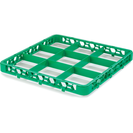 """RE9C09 - OptiClean™ 9 Compartment Divided Glass Rack Extender 1.78"""" - Green"""